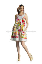 cotton top moda design latest 2016 wholesale tunic sexy floral printing tunic very popular in europe