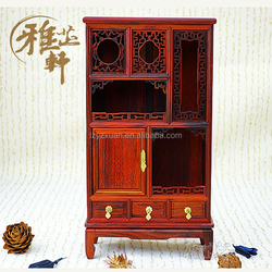 2016 Popular Wood Carved Antique Miniature/Small Crafts Item of Curio Cabinet for Wholesale