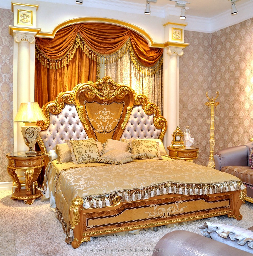 Luxury Baroque Style Double Bed King Size with Royal Canopy and gold-AS6201