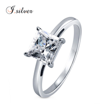 Wholesale s925 sterling silver square Princess cut CZ stone Solitaire ring designs R500351