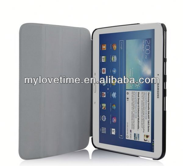 factory price stand leather case for samsung tab 3 p3200