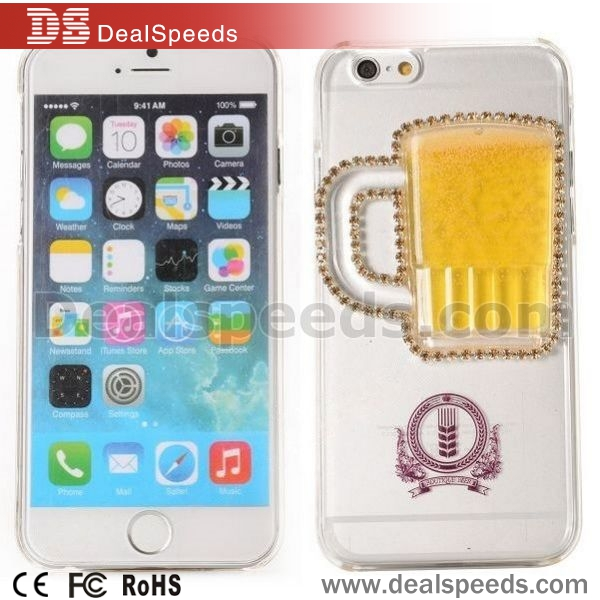 Diamante Dynamic 3D Liquid Beer Mug Pattern Plastic Back Case for iPhone 6 Case