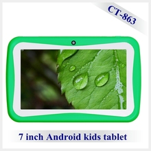 lovely Multi-language Android 7 inch kids tablet case, learning pad with preloaded educational applications, FCC, CE, ROHS