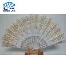Wholesale <strong>wedding</strong> & party favor folding white plastic hand fan with gold printed