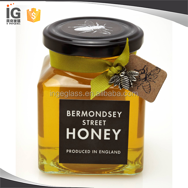 Square glass honey jars wholesale empty glass honey jar