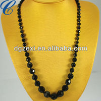 Fashion Baroque long chain black bead plastic crystal necklaces