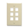 ICC - IC107F06AL - ICC IC107F06AL Single Gang Faceplate - 6 x Socket(s) - 1-gang - Almond