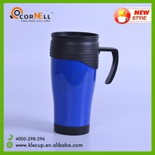 2017 hot new products Double Wall Food Grade Plastic PP Coffee Travel Mug with Lid & Handle
