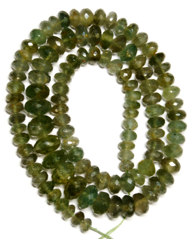 MICRO FACETED MOSS AQUAMARINE RONDELLE BEADS STRAND