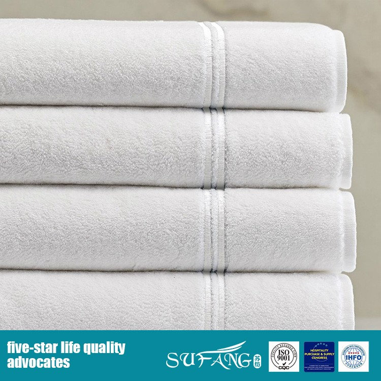 Wholesale 100% cotton hotel towel set high quality bath towel with dobby border