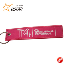 Cheap Customized remove Luggage Tag Label before flight Embroidery Keychain For Car Motorcycle Bag Luggage Logo key Chain