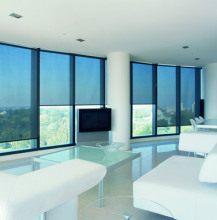 Ready made sunscreen fabric roller blind pvc coated one way window drape with reasonable price
