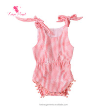 White and Pink Plaid Shoulder Tied Baby Girls Lovely Romper