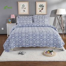 Blue and White Coverlet 3pc set Oversized Luxury Cotton Printed Quilt