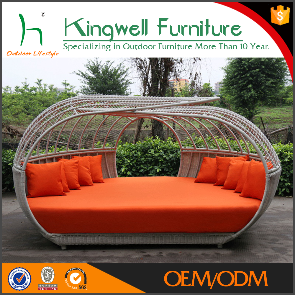 Daybed patio aluminium wicker sun lounge with canopy