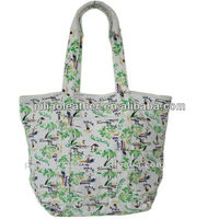 Vacation Tote Bag with Hawaiian Coconut trees beach print