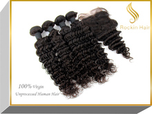 Elegant Hot Sale Sleek Volume Virgin Brazilian Deep Curly virgin hair bundles with lace closure