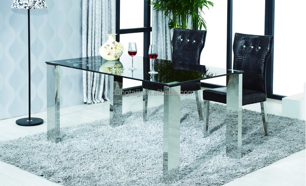 C-80/DC-56 Modern Stainless Steel Glass Dining Table and Chair Sets/banquet table/antique dining set for dining room furniture