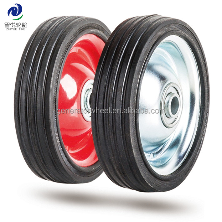 5 inch small metal solid rubber wheels with bearing for carts