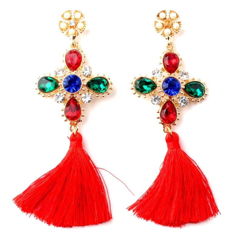 New arrive Cross Tassel Long Earrings Simulated Pearl Luxury Color Glass Crystal Drop Dangle Earrings For Women
