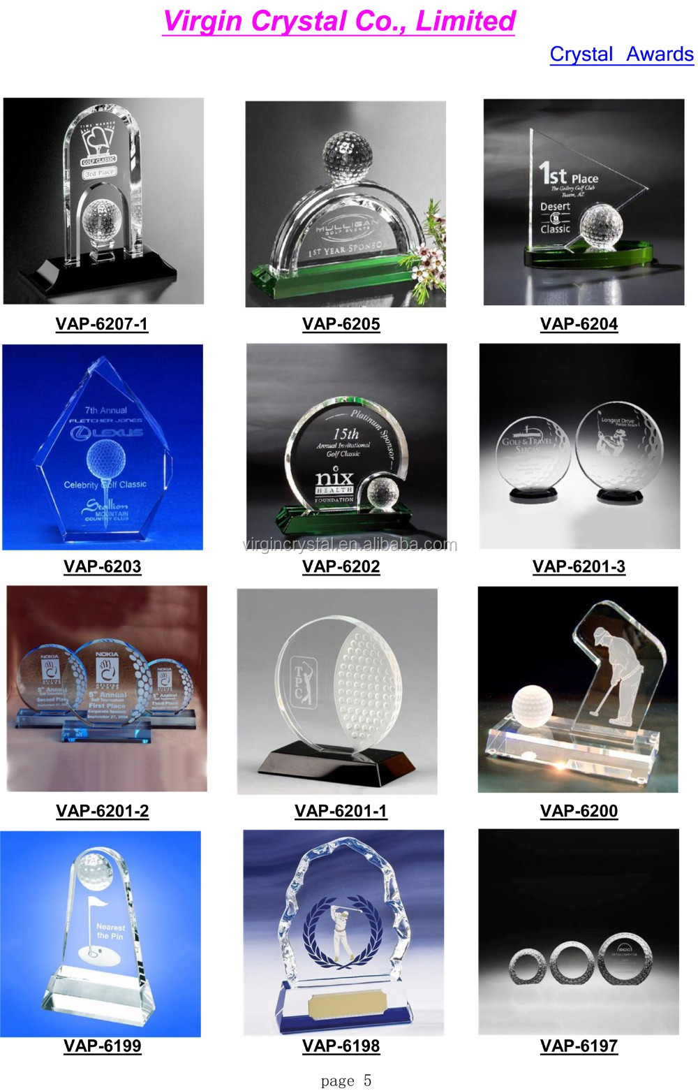 wholesale cheap crystal desktop golf related trophy gifts