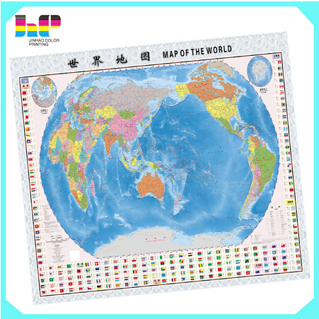 Wholesale top quality folded world book note book style travel color map printing