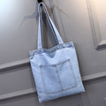 2017 Customized Denim Tote Bags Wholesale Denim Jeans Shoulder Bag Handbag Women Tote bag
