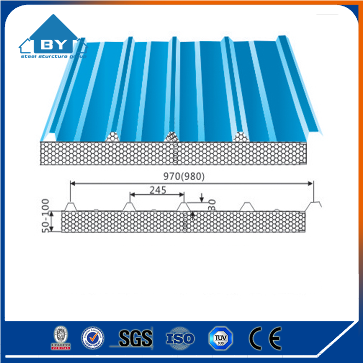 Insulated Galvanized Color Steel Plate Roof Sandwich Panel