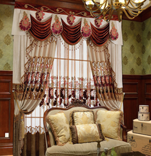 curtain with lace lining,high ceiling curtain with delicate embroidered