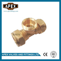 APEX High Quality Brass Fitting Connector Brass Compression Male Tee For Copper Pipe