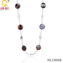 agate and pearl spaced beaded necklace
