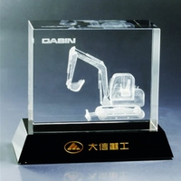 3D laer Crystal truck crane model for business gift