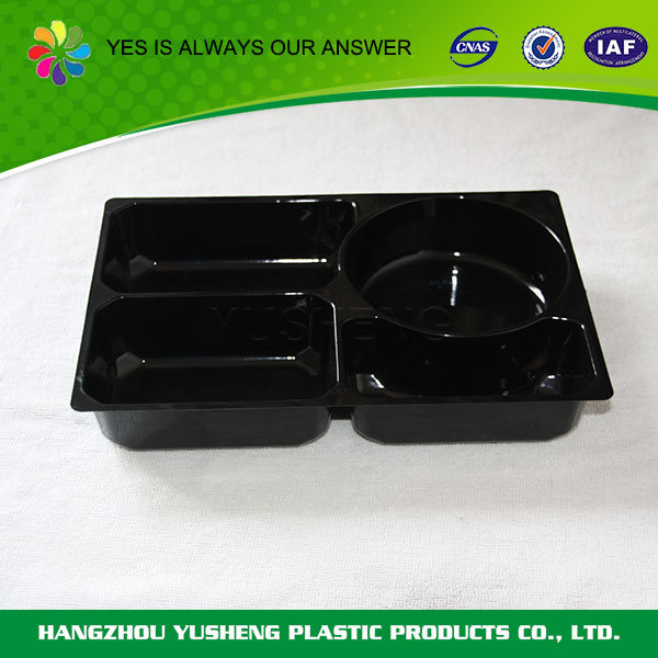 Wholasale customized black disposable plastic food tray,plastic tray