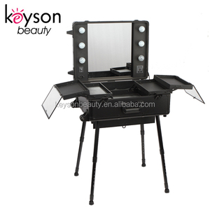 Keyson Black Professional Aluminum Makeup Trolley Case with Lights