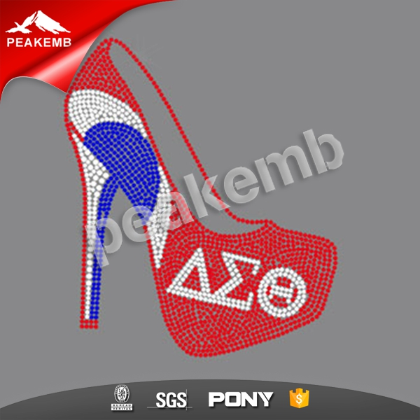 DST high heeled shoes rhinestone transfer for clothing
