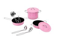 2015 design cute pink cookware with fry pan ,pot hot products