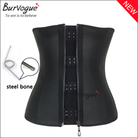 Burvogue Women's Latex Waist Trainer 3 clip & zip Abdomen Compression Girdle Steel Boned Waist training Corset