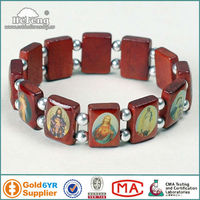 Wholesale Religious Wood Bead with Saint Picture Rosary Bracelet