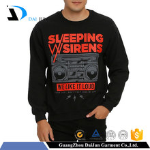 OEM service wholesale china factory custom for adults 100%cotton black high quality men crewneck sweatshirt with kangaroo pocket