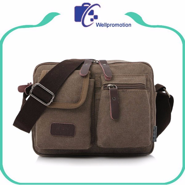 High quality custom logo canvas book casual messenger bags for men/teens