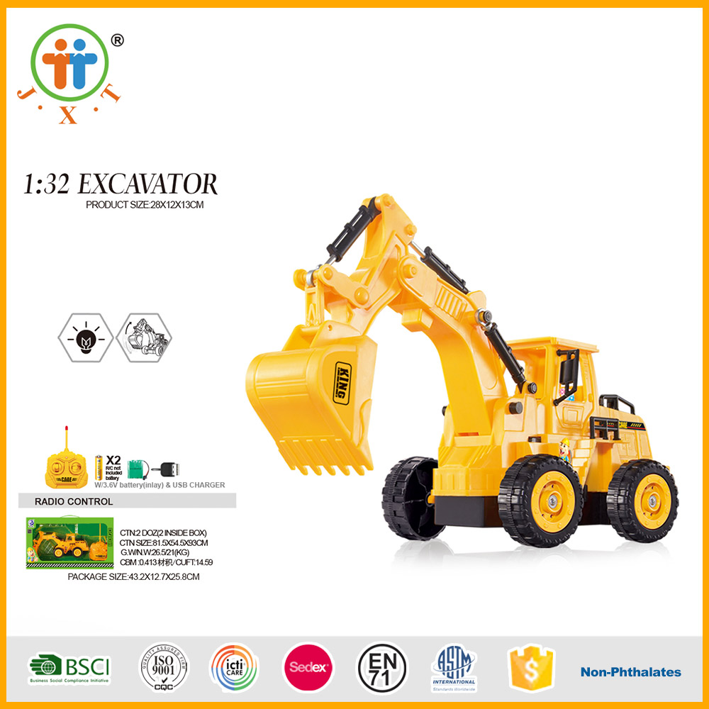 High demand 1:32 5 ch rc excavator toys with rechargeable battery and USB line
