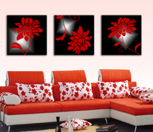 Wall Hanging Drawing Flower Canvas Painting 3 Panel Home Decor Painting