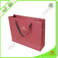 Color Paper Bag For Shopping With Silk Ribbon Handles Cosmetic Paper Bag