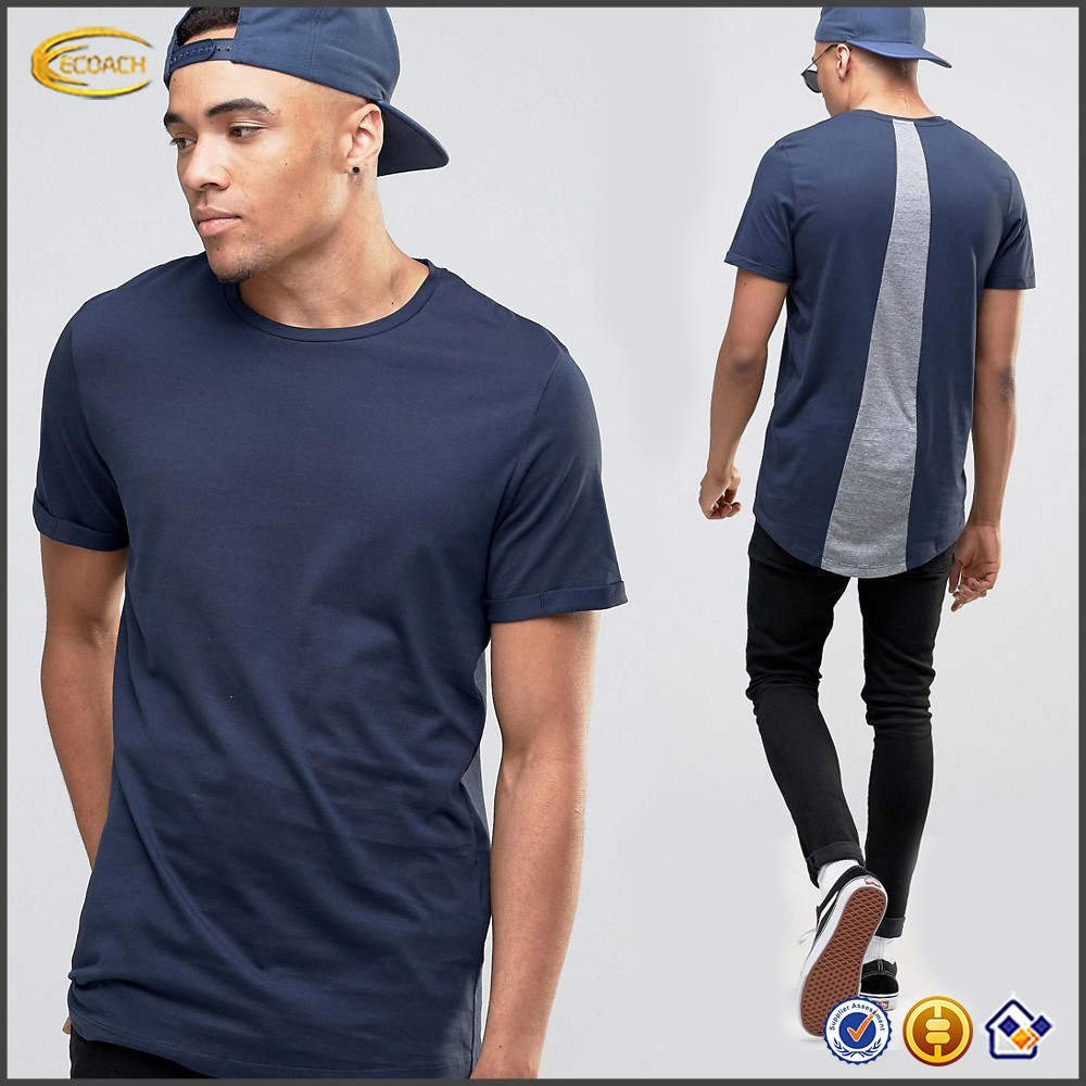 Sample Order Payment High Quality Men Short Sleeve Crew Neck Longline Curved Hem T-shirt Custom Logo Back Patchwork shirts