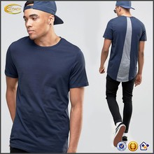 Sample Order Payment High Quality <strong>Men</strong> Short Sleeve Crew Neck Longline Curved Hem T-shirt Custom Logo Back Patchwork shirts