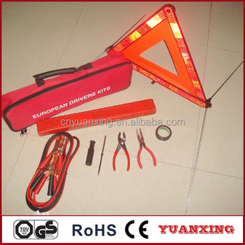 Car Accessory Emergency Kits Safety Tools With Warning Triangle