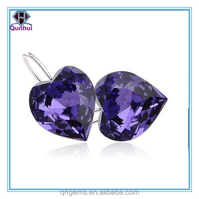 fashion violet heart shaped cz stone necklace