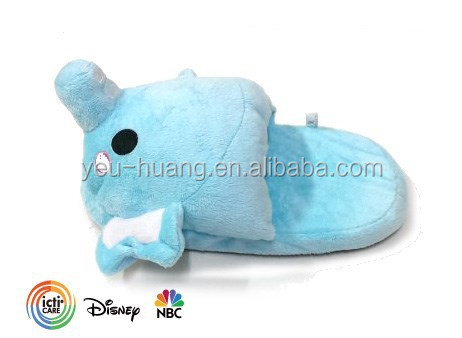 Plush velvet material cheap elephant slippers