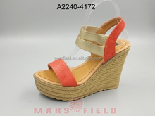 platform chunky sexy wedge heel pu sandals for ladies
