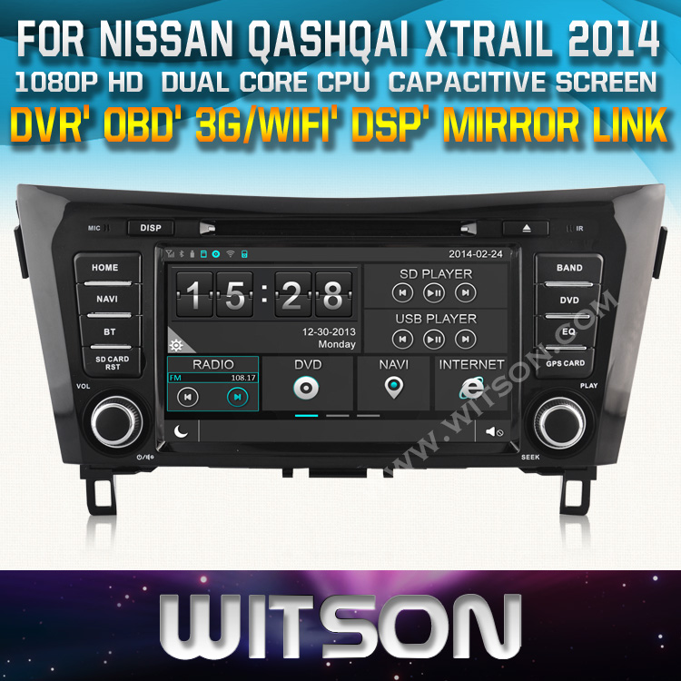 AUTO RADIO DVD For NISSAN QASHQAI X-TRAIL ROGUE 2014 STEERING WHEEL CONTROL FRONT DVR CAPACTIVE SCREEN